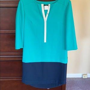 Ann Taylor green/navy dress